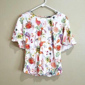 Zara NWT Floral Print Top